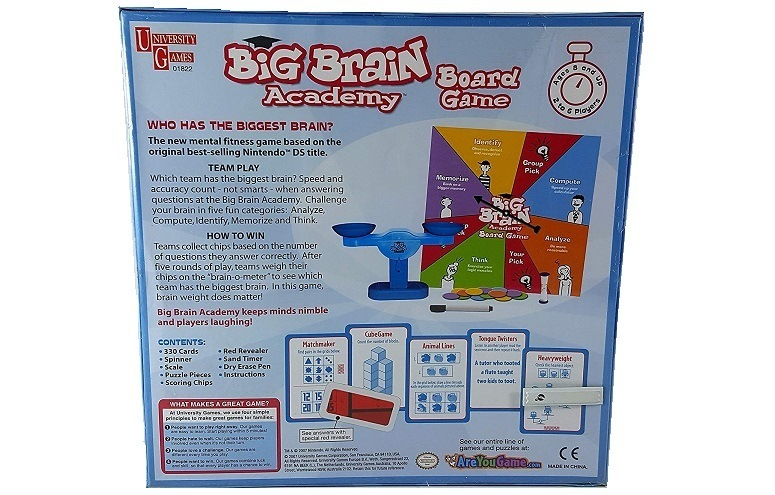University Games Big Brain Academy Game Back Side