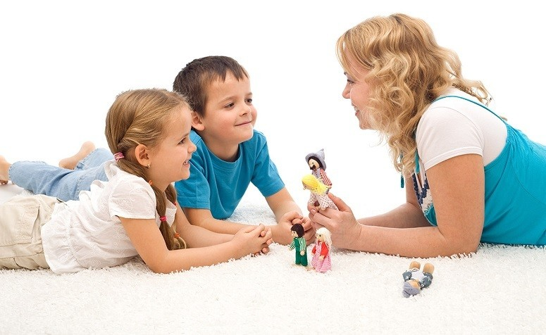 Mom Telling Stories To Kids